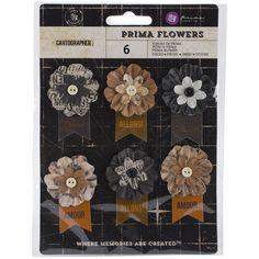 "Prima Marketing Cartographer Flowers-Paper Explorer 2.25"" W/Banner 6/Pkg"