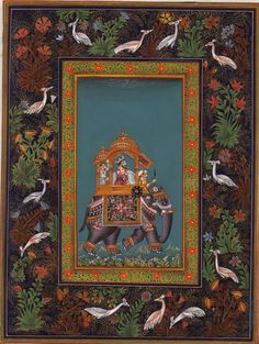 Art Mughal Paintings Persian Miniatures Rajasthani - elephant
