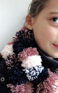 Pom-pom scarf not exactly crochet but yarn nonetheless!