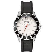 Montre Femme Lacoste 2000662 - Bracelet en silicone noir.  Fond du cadran blanc.