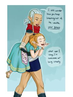 """chat-en-rose: """" OoT Impa and young Zelda I know the manga is not canon, but my headcanon is that Impa is secretely training Zelda in the Sheikah arts, and she must be able to fool even the best guards that Hyrule can offer. And then Impa goes to the..."""