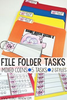 These 5 File Folder Tasks provide a variety of activities for counting coins in 2 different styles means you get 10 file folder tasks to use! I love using these during station time in my Autism classroom! Life Skills Classroom, Teaching Life Skills, Autism Classroom, Teaching Math, Classroom Ideas, File Folder Activities, File Folder Games, File Folders, Work Folders