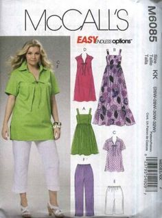 McCall�s Sewing Pattern 6085 Womans Plus Size 26W-32W Summer Wardrobe Dresses Tops Shorts