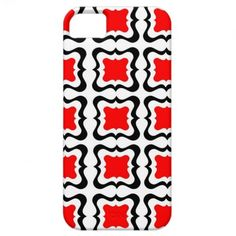Red Black White Bold Modern Patterned Phone Cases.  A fabulous square repeat pattern in bright bold colors of red, white and black, a stylish way to protect your phone with a quality case.