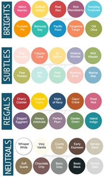 Stampin Up 2014/2015 colors (double click on this at the website ...