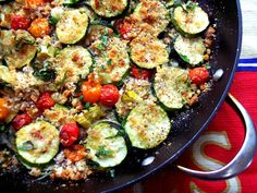 First layer; Sweet Vadalia onion ring slices on a nice drizzle of olive oil   Sliced zucchini  Handfull of romano cheese spread all over  Toasted homemade Italian bread crumbs spread about  Small cherry tomatoes placed all around  Drizzle with olive oil  More cheese  More breadcrumbs  Repeat  Garnish with fresh snipped basil  Place in a hot oven at 425 till tender and crispy and the tomatoes pop and get caramelized,