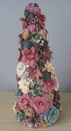 Hand Crafted Floral Christmas Tree decorated with Hand Crafted Paper Flowers 30cm high by JustJulesHomeDecor on Etsy