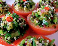 Healthy appetizer for a nice dinner Spring party!  You can garnish your tomatoes any way you can! It's easy and fun to do!