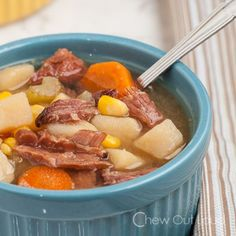 Ham Potato Vegetable Soup - Slow Cooker.  Perfect way to make leftover ham bone into a newly delicious dinner!
