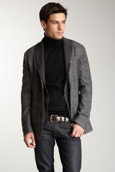 Men's jacket jeans, stylish not stuffy Jacket Jeans, Men's Jacket, Jacket Style, Sharp Dressed Man, Well Dressed Men, Tomboy Fashion, Mens Fashion, Printed Blazer, Black Turtleneck