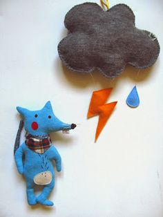 little rat  and lightning mobile- design by agatownik
