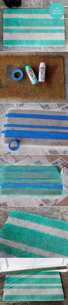 WOW! That's easy.  DIY Upcycled Door Mat | From Momtastic | DIY & Crafts