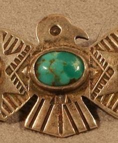 $300 Arrowpoint Wing Thunderbird Pin, Jewelry by Navajo