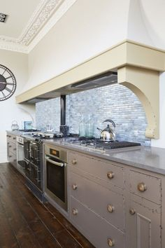 Bespoke Kitchen Cabinets By Barnes Of Ashburton In A Distressed Hand  Painted Farrow U0026 Ball London Clay Finish. Fabulous Curved Canopy Hood  Designed To Hide ... Part 72