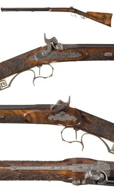 An ornately carved and engraved percussion hunting rifle crafted by Gastinne Renette of Paris, mid 19th century.