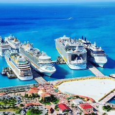 Busy day in paradise. Who can name the port and the ships? #cruiseship #sunshine #caribbean