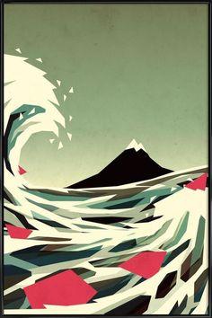 Go with the flow en Affiche premium par Yetiland Poster Online, Flow Arts, Surf Art, Art Institute Of Chicago, Art For Art Sake, Beautiful Artwork, Japanese Art, Digital Illustration, Art Drawings