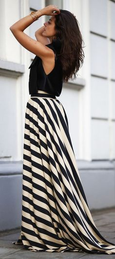 Cream with Black Striped Floor Length Maxi Skirt Top Leather Black Cropped.