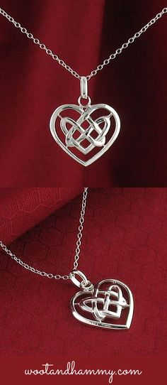 Pretty celtic heart knot necklace in sterling silver.