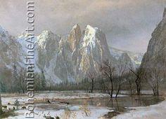 Albert Bierstadt, Cathedral Rocks, Yosemite Valley, California Fine Art Reproduction Oil Painting