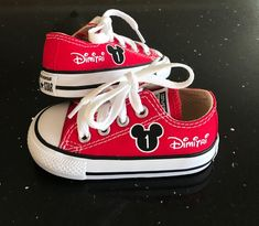 33bfaec40b4e Personalized Mickey Mouse Birthday Shoes - Infant and Kids Custom Low Top  Converse Shoes