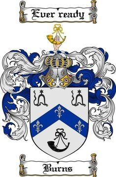 BURN, BURNS, BOURNE (Teviotdale) - COA pinned only to list surname