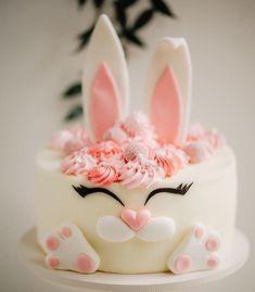 What a sweet bunny cake by petropaniuta! Bunny Birthday Cake, Easter Bunny Cake, Easter Treats, Baby Cakes, Fondant Cakes, Cupcake Cakes, Rabbit Cake, Funny Cake, Animal Cakes