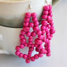 Ripe Berry Chandelier Earrings  Bright Pink by FabricateDesigns, €9.00