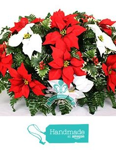 Beautiful XL Red and White Poinsettia's Cemetery Tombstone Saddle from Crazyboutdeco Deco Mesh Wreaths and Cemetery Arrangements https://www.amazon.com/dp/B01MZ1BACQ/ref=hnd_sw_r_pi_dp_qj2vybT4D2XPB #handmadeatamazon