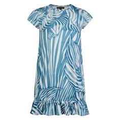 f42962a7cf Roberto Cavalli Kids Girls White   Blue Striped Dress with Frilled Hem