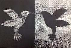 artwork inspiration:  Zentangle hummingbird ... notan: positive / negative space ... doodle fills ...