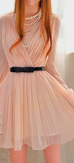 Adorable Pale Pink Mini Dress with Pearls | Gloss Fashionista
