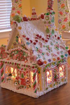 A Glow We Go! Homemade Gingerbread House, Gingerbread Christmas Decor, Cool Gingerbread Houses, Gingerbread House Designs, Gingerbread House Parties, Gingerbread Village, Christmas Goodies, Christmas Candy, Christmas Treats
