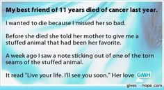 Losing someone to cancer is the worst thing but it's part of life unfortunately. :'(