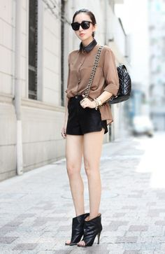 camel chiffon shirt.