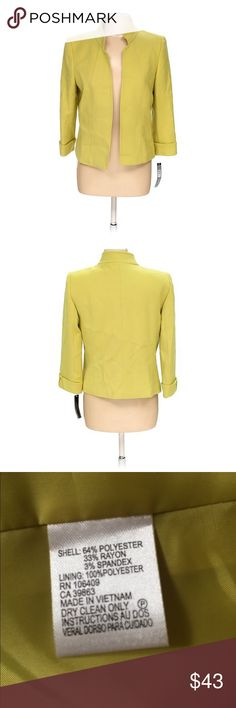 NWT Tahari Blazer Beautiful open front jacket from Tahari. Detailed cuffed sleeves. Fully lined. Color is citron. Looks great with black. Size 8. Fits TTS. Purchased at Lord and Taylor. NWT, thus new condition. Tahari Jackets & Coats Blazers