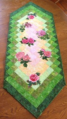 Advanced Embroidery Designs. Free Projects and Ideas.Roses for Mom - quilted table runner with machine embroidery.