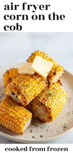 This easy method for Air Fryer Frozen Corn On The Cob turns a simple frozen vegetable into a tender corn that's ready in 10 minutes or less. Great for any air fryer or Ninja Foodi!