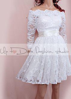 Plus Size Short wedding lace dresses / by UpToDateFashion on Etsy