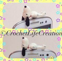 Snoopy Earphonejack 1.25inch/3.2cm #amigurumi #crochet