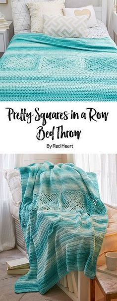 Pretty Squares in a Row Bed Throw free crochet pattern in Super Saver Ombre yarn.