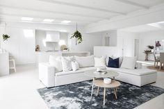 "THREE BIRDS RENOVATIONS on Instagram: ""Lana's lounge room #getthelook 👉 sofa, rug, coffee tables from @boconceptsydney ❤️ Cushions @gracegarrettdesign #santoriniinsydney #house6"""