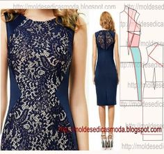 Portuguese site with illustration showing how to alter a standard dress pattern to create this color blocked dress using lace. Sewing Patterns Free, Clothing Patterns, Dress Patterns, Fashion Sewing, Diy Fashion, Ideias Fashion, Diy Clothing, Sewing Clothes, Diy Dress