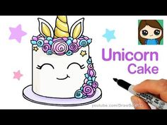 How to Draw a Unicorn Cake Easy . Learn how to draw a sweet, magical Unicorn cake step by step easy. This lovely cake is inspired by Rosanna Pansino's Unicorn Unicorn Drawing, Cartoon Unicorn, Unicorn Art, Cute Unicorn, Unicorn Emoji, Draw So Cute Videos, Draw So Cute Food, Drawing Cartoon Characters, Cartoon Girl Drawing