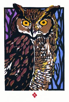 Great Horned Owl - Original woodblock print by Betsy Bowen