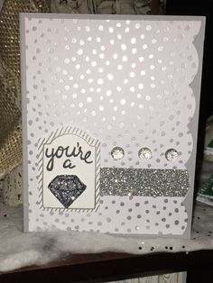 One Tag Fits All - card made by Kim Hadad. Everything is Stampin Up except the gems.