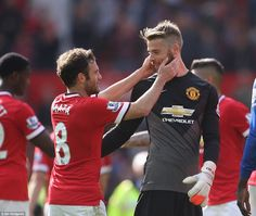 De Gea is all smiles with team-mate and compatriot Juan Mata, emphasising that he is now s...