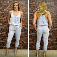 REAGAN WASH DENIM DRAWSTRING WAIST JUMPSUIT - $70 (( only two mediums left in stock )) . . . . #summerfashion #newarrival #ootd #shoplocal #shopaldm #fashion #ontrend #obsessed #apricotlanedesmoines #shopaldm #denim #jumper #jumpsuit #tencel