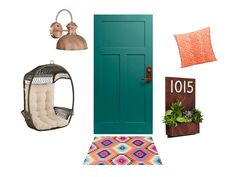 Rich green #frontdoor, graphic print doormat, and succulent-filled house numbers make this an amazing #curbappeal look for fall // #hgtvmagazine // http://www.hgtv.com/design/decorating/design-101/front-door-design-ideas-pictures?soc=pinterest