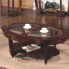 Amazon.com: Steve Silver Company Steve Silver London Cherry Coffee Table with Casters: Furniture & Decor
